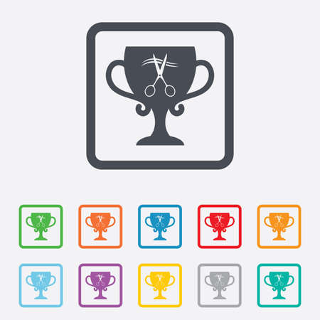Scissors cut hair sign icon. Hairdresser or barbershop symbol. Winner award cup. Round squares buttons with frame. Vector