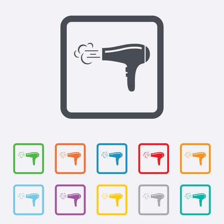 Sèche-cheveux signe icône. Cheveux symbole de séchage. Soufflage d'air chaud. Allumer. Carrés boutons ronds avec cadre. Vecteur Banque d'images - 33250914