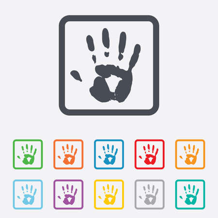Hand print sign icon. Stop symbol. Round squares buttons with frame. Vector Vector