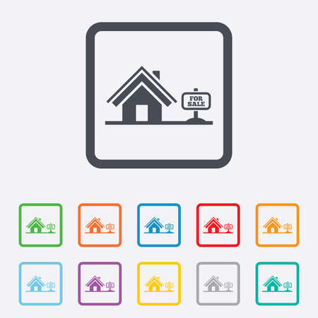 Home sign icon. House for sale. Broker symbol. Round squares buttons with frame. Vector Vector