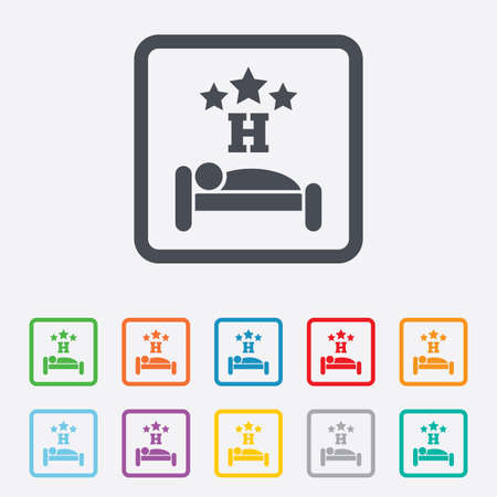 Three star Hotel apartment sign icon. Travel rest place. Sleeper symbol. Round squares buttons with frame. Vector Vector