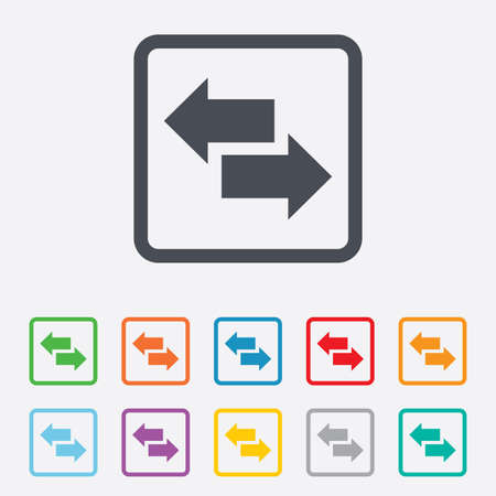 outgoing: Incoming and outgoing calls sign. Upload. Download arrow symbol. Round squares buttons with frame. Vector