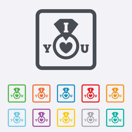 i love you sign: I Love you sign icon. Valentines day symbol. Round squares buttons with frame. Vector