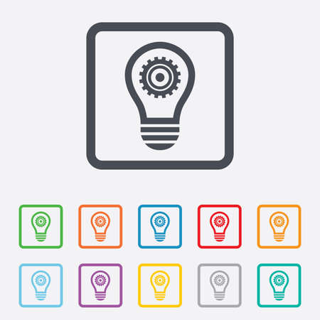 Light lamp sign icon. Bulb with gear symbol. Idea symbol. Round squares buttons with frame. Vector Vector