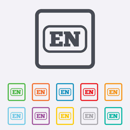en: English language sign icon. EN translation symbol with frame. Round squares buttons with frame. Vector