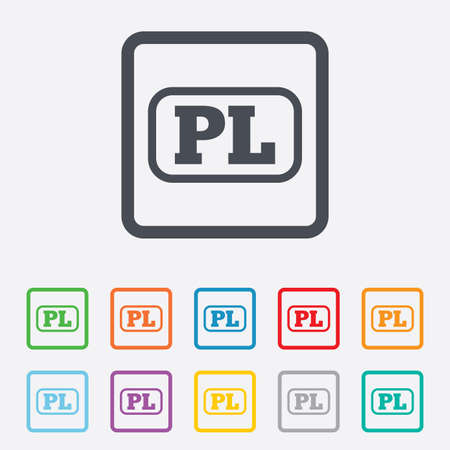pl: Polish language sign icon. PL translation symbol with frame. Round squares buttons with frame. Vector Illustration