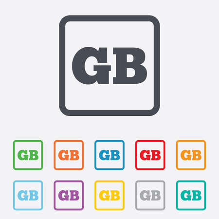 gb: British language sign icon. GB Great Britain translation symbol. Round squares buttons with frame. Vector