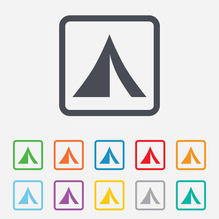 Tourist tent sign icon. Camping symbol. Round squares buttons with frame. Vector Vector