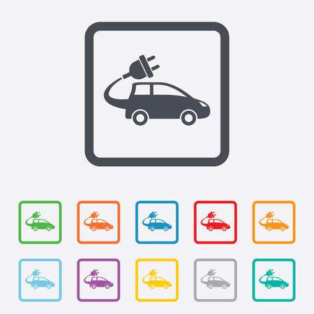 electric vehicle: Auto elettrica icona segno. Simbolo Hatchback. Trasporto del veicolo elettrico. Piazze pulsanti rotondi con telaio. Vettore Vettoriali