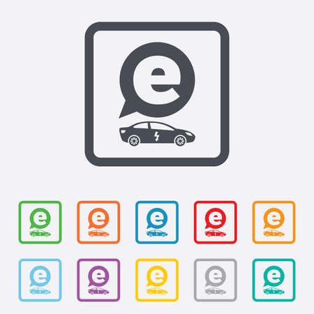 electric vehicle: Auto elettrica icona segno. Sedan simbolo berlina. Trasporto del veicolo elettrico. Piazze pulsanti rotondi con telaio. Vettore