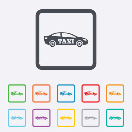 Taxi car sign icon. Sedan saloon symbol. Transport. Round squares buttons with frame. Vector Vector