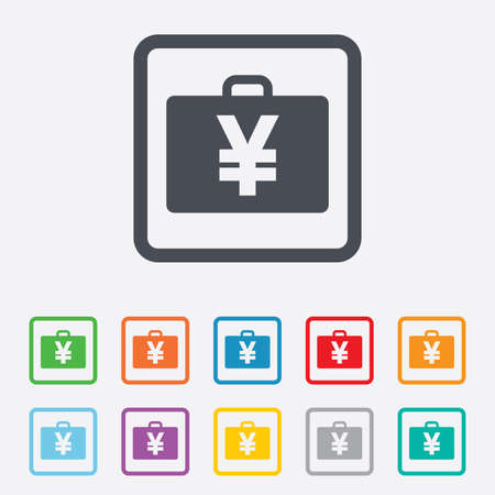 jpy: Case with Yen JPY sign icon. Briefcase button. Round squares buttons with frame. Vector Illustration