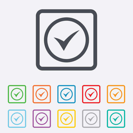 Check mark sign icon. Yes circle symbol. Confirm approved. Round squares buttons with frame. Vector Vector