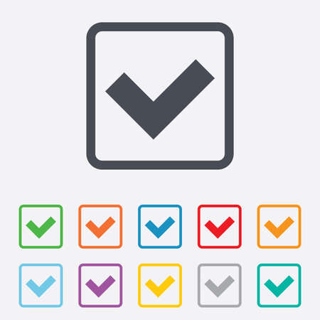 check sign: Check sign icon. Yes button. Round squares buttons with frame. Vector
