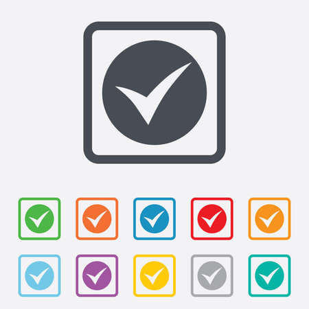 check sign: Check sign icon. Yes symbol. Confirm. Round squares buttons with frame. Vector Illustration