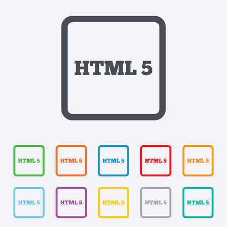 html5: HTML5 sign icon. New Markup language symbol. Round squares buttons with frame. Vector