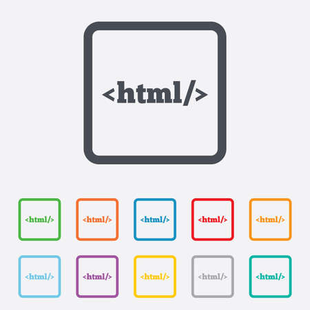 markup: HTML sign icon. Markup language symbol. Round squares buttons with frame. Vector