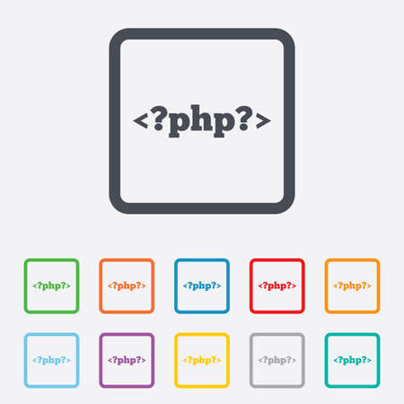 php: PHP sign icon. Programming language symbol. Round squares buttons with frame. Vector Illustration