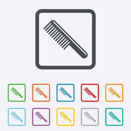 comb hair: Comb hair sign icon. Barber symbol. Round squares buttons with frame. Vector