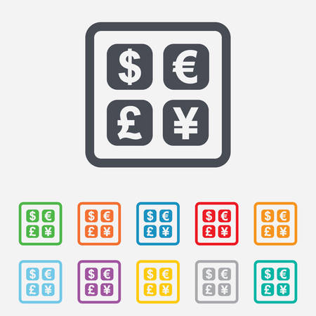currency converter: Currency exchange sign icon. Currency converter symbol. Money label. Round squares buttons with frame. Vector
