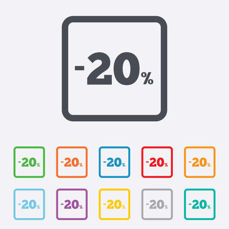 20 percent discount sign icon. Sale symbol. Special offer label. Round squares buttons with frame. Vector Vector