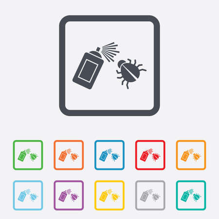 fumigation: Bug disinfection sign icon. Fumigation symbol. Bug sprayer. Round squares buttons with frame. Vector