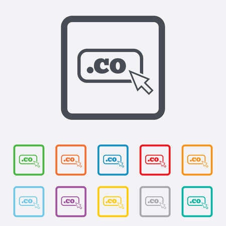 co: Domain CO sign icon. Top-level internet domain symbol with cursor pointer. Round squares buttons with frame. Vector