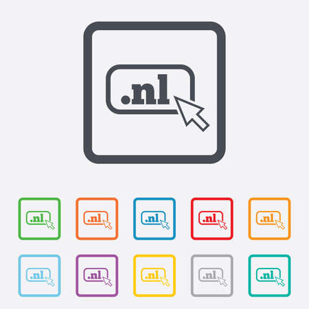 nl: Domain NL sign icon. Top-level internet domain symbol with cursor pointer. Round squares buttons with frame. Vector