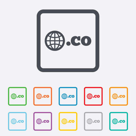 co: Domain CO sign icon. Top-level internet domain symbol with globe. Round squares buttons with frame. Vector