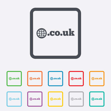 subdomain: Domain CO.UK sign icon. UK internet subdomain symbol with globe. Round squares buttons with frame. Vector