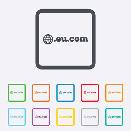 subdomain: Domain EU.COM sign icon. Internet subdomain symbol with globe. Round squares buttons with frame. Vector Illustration