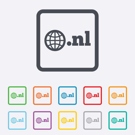nl: Domain NL sign icon. Top-level internet domain symbol with globe. Round squares buttons with frame. Vector Illustration