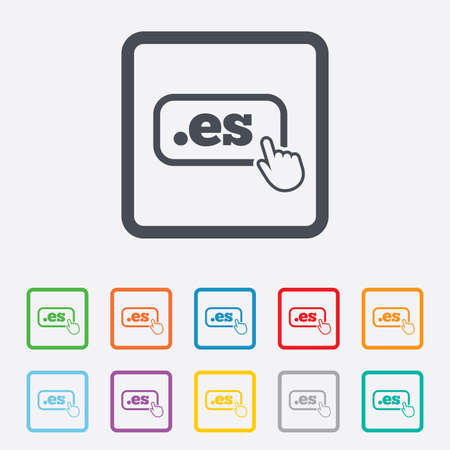 vector es: Domain ES sign icon. Top-level internet domain symbol with hand pointer. Round squares buttons with frame. Vector