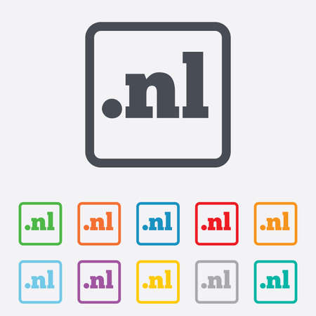 nl: Domain NL sign icon. Top-level internet domain symbol. Round squares buttons with frame. Vector