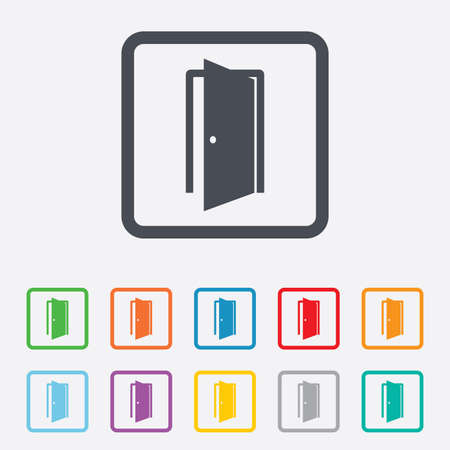 door sign: Door sign icon. Enter or exit symbol. Internal door. Round squares buttons with frame. Vector