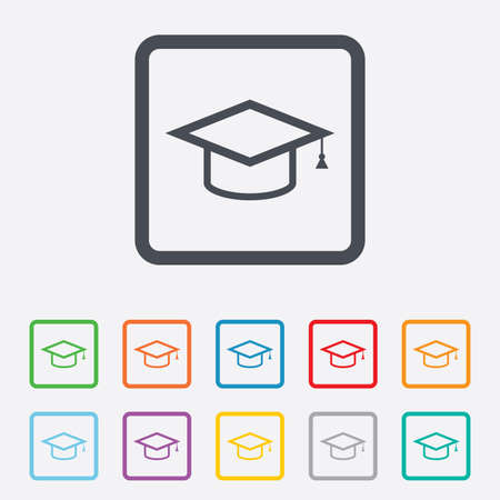 Graduation cap sign icon. Higher education symbol. Round squares buttons with frame. Vector Illustration
