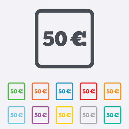eur: 50 Euro sign icon. EUR currency symbol. Money label. Round squares buttons with frame.