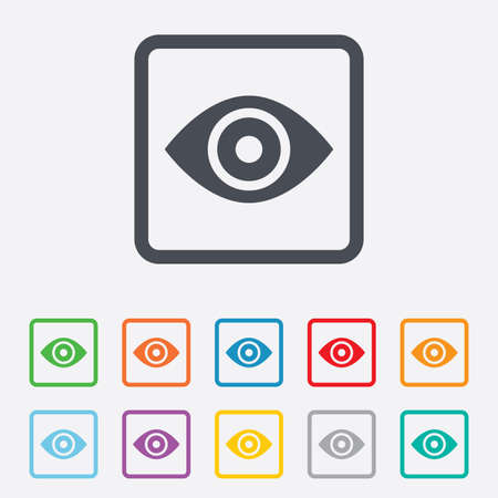 published: Eye sign icon. Publish content button. Visibility. Round squares buttons with frame. Vector Illustration