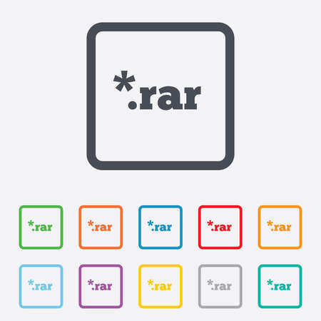 rar: Archive file icon. Download compressed file button. RAR zipped file extension symbol. Round squares buttons with frame. Vector Illustration