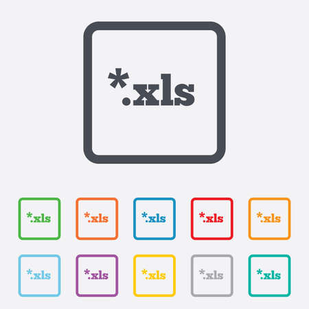 excel: Excel file document icon. Download xls button. XLS file extension symbol. Round squares buttons with frame. Vector Illustration