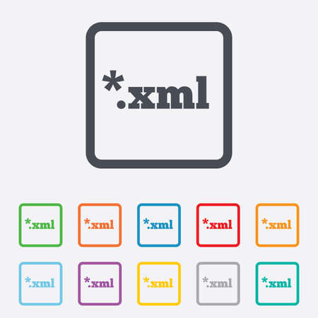 File document icon. Download XML button. XML file extension symbol. Round squares buttons with frame. Vector