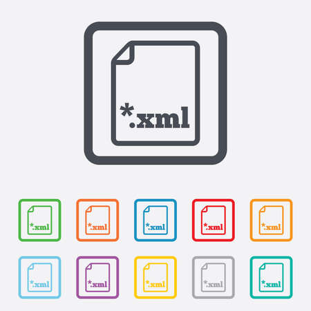 extensible: File document icon. Download XML button. XML file extension symbol. Round squares buttons with frame. Vector