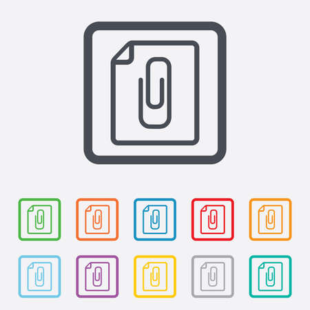 File annex icon. Paper clip symbol. Attach symbol. Round squares buttons with frame. Vector Vector