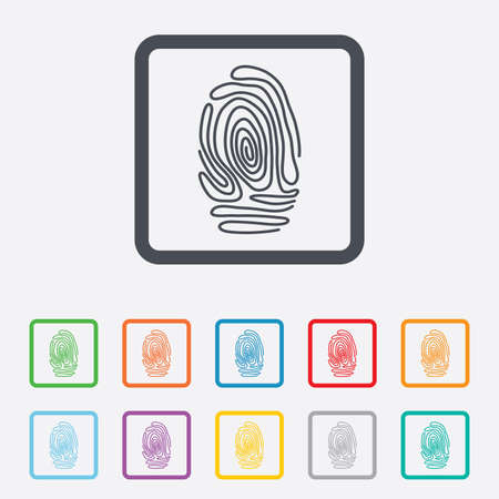 authentication: Fingerprint sign icon. Identification or authentication symbol. Round squares buttons with frame. Vector Illustration