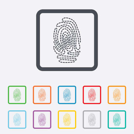 Fingerprint sign icon. Identification or authentication symbol. Round squares buttons with frame. Vector Illustration