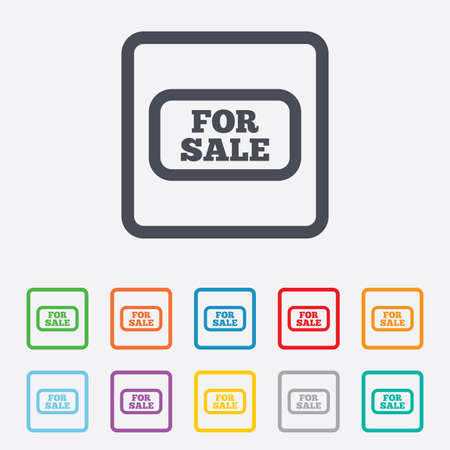 For sale sign icon. Real estate selling. Round squares buttons with frame. Vector Vector