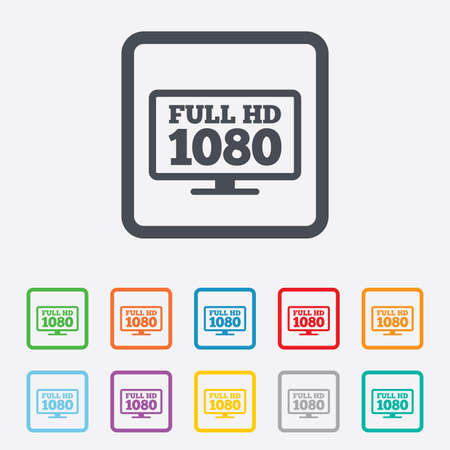 Full hd widescreen tv sign icon. 1080p symbol. Round squares buttons with frame. Vector Illustration