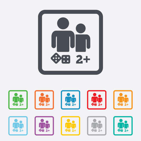 Board games sign icon. Two plus players symbol. Dice sign. Round squares buttons with frame. Vector Vector