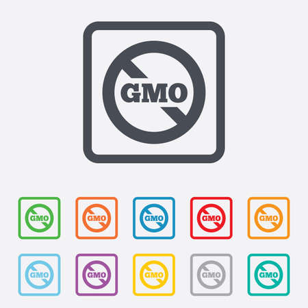 No GMO sign icon. Without Genetically modified food. Stop GMO. Round squares buttons with frame. Vector Vector