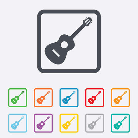 Acoustic guitar sign icon. Music symbol. Round squares buttons with frame. Vector Vector